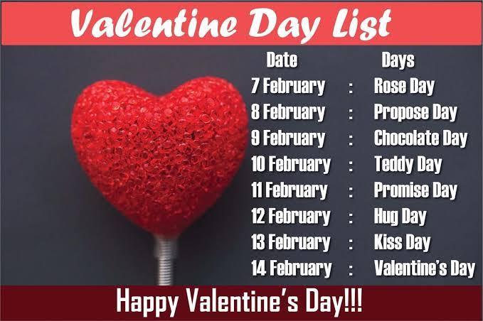 valentine days list